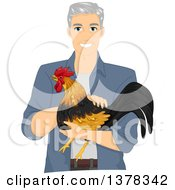 Clipart Of A Handsome White Senior Man Holding A Rooster Royalty Free Vector Illustration