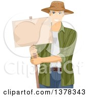 Clipart Of A Handsome White Male Senior Farmer Holding A Blank Sign Royalty Free Vector Illustration
