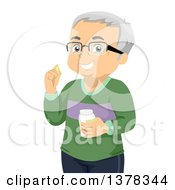 Happy White Senior Man Wearing Glasses And Taking His Medication