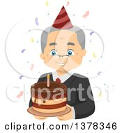 Clipart Of A Happy White Senior Man Wearing Glasses And Holding A Cake At His Retirement Party Royalty Free Vector Illustration