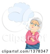 Clipart Of A Senior White Woman Worrying And Thinking About Alzheimers Royalty Free Vector Illustration