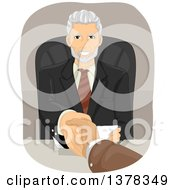 Clipart Of A Handsome Senior Business Man Shaking Hands With A Client Over A Desk Royalty Free Vector Illustration