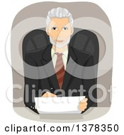 Clipart Of A Handsome Senior Business Man Reviewing A Contract At His Desk Royalty Free Vector Illustration