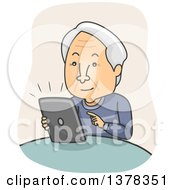 Clipart Of A Cartoon Senior White Man Using A Tablet Computer Royalty Free Vector Illustration