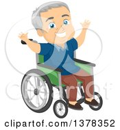 Clipart Of A Happy Senior White Man Cheering In A Wheelchair Royalty Free Vector Illustration