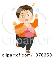 Clipart Of A Happy Brunette White Senior Woman Dancing To Music Royalty Free Vector Illustration