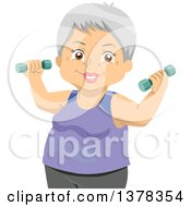 Clipart Of A Happy Senior White Woman Working Out With Dumbbells Royalty Free Vector Illustration by BNP Design Studio