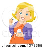 Clipart Of A Happy Blond White Senior Woman Taking Mexication Royalty Free Vector Illustration