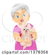 Clipart Of A Happy White Senior Woman Holding Her Shihtzu Dog Royalty Free Vector Illustration by BNP Design Studio