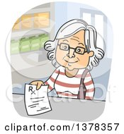 Clipart Of A Cartoon Happy White Senior Woman Turning In A Prescription At A Pharmacy Royalty Free Vector Illustration by BNP Design Studio