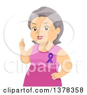 Clipart Of A Happy Senior White Woman Giving A Thumb Up And Wearing A Purple Awareness Ribbon Royalty Free Vector Illustration by BNP Design Studio