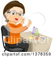 Clipart Of A Happy Brunette White Senior Woman Sewing Royalty Free Vector Illustration by BNP Design Studio