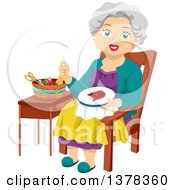 Clipart Of A Happy White Senior Woman Embroidering A Cat Royalty Free Vector Illustration by BNP Design Studio
