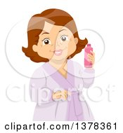 Happy Brunette White Senior Woman In A Spa Robe Holding A Lotion Bottle