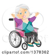Happy White Senior Woman Cheering In A Wheelchair