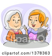 Clipart Of A Cartoon Red Haired White Woman Teaching Her Granny How To Use A Tablet Computer Royalty Free Vector Illustration
