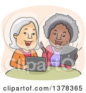 Clipart Of Happy White And Black Senior Women Laughing And Video Streaming On Their Laptop And Tablet Computers Royalty Free Vector Illustration