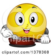 Clipart Of A Smiley Emoji Cooking With A Frying Pan Royalty Free Vector Illustration