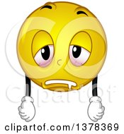 Clipart Of A Smiley Emoji Looking Exhausted Royalty Free Vector Illustration