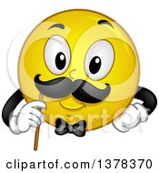 Clipart Of A Smiley Emoji Gentleman Holding Up A Mustache Photo Op Royalty Free Vector Illustration