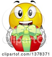 Clipart Of A Smiley Emoji Holding Up A Gift Royalty Free Vector Illustration
