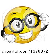 Clipart Of A Smiley Emoji Smiling And Wearing Glasses Royalty Free Vector Illustration by BNP Design Studio