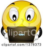 Clipart Of A Smiley Emoji Using A Laptop Computer Royalty Free Vector Illustration