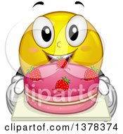 Clipart Of A Smiley Emoji Holding A Strawberry Cake Royalty Free Vector Illustration