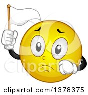 Clipart Of A Smiley Emoji Holding Up A White Flag Royalty Free Vector Illustration