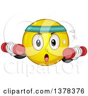 Clipart Of A Smiley Emoji Working Out With Dumbbells Royalty Free Vector Illustration