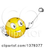 Clipart Of A Smiley Emoji Taking A Picture With A Selfie Stick Royalty Free Vector Illustration by BNP Design Studio