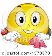 Clipart Of A Smiley Emoji Sewing A Scarf Royalty Free Vector Illustration