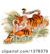 Clipart Of A Leaping And Attacking Tiger Royalty Free Vector Illustration