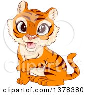 Clipart Of A Tiger Cub Sitting And Holding Up One Paw Royalty Free Vector Illustration by BNP Design Studio