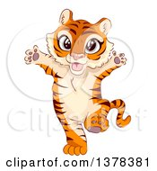 Clipart Of A Happy Tiger Cub Standing Upright Royalty Free Vector Illustration by BNP Design Studio