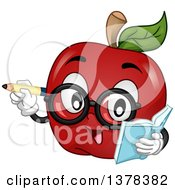Clipart Of A Bespectacled Apple Teacher Or Student Holding A Book Royalty Free Vector Illustration