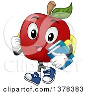 Clipart Of A Happy Apple Student Character Walking And Carrying Books Royalty Free Vector Illustration by BNP Design Studio