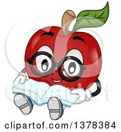 Clipart Of A Bespectacled Apple Student Character Sitting And Reading A Book Royalty Free Vector Illustration