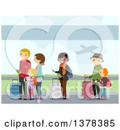 Clipart Of People In Line At An Airport Royalty Free Vector Illustration