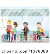 Clipart Of People Waiting In Line To Board A Ship Royalty Free Vector Illustration
