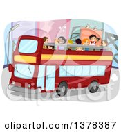 Clipart Of People On A Double Decker Tour Bus Royalty Free Vector Illustration