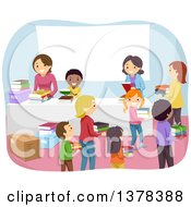 Clipart Of Children Donating Old Books To An Organization Royalty Free Vector Illustration by BNP Design Studio