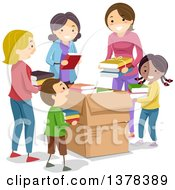 Clipart Of Chidlren And Women Putting Donated Books In Boxes Royalty Free Vector Illustration