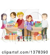 Clipart Of People Shopping For Books At A Stand Royalty Free Vector Illustration