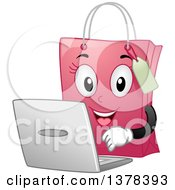 Pink Female Shopping Bag Mascot Using A Laptop Computer