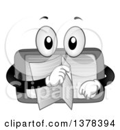 Clipart Of A Tablet Computer Character Turning Pages Of An Ebook Royalty Free Vector Illustration
