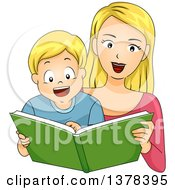 Clipart Of A Blond White Mother Reading A Story Book To Her Son Royalty Free Vector Illustration