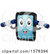 Clipart Of A Happy Tablet Computer Mascot Woring Out With Dumbbells Royalty Free Vector Illustration by BNP Design Studio