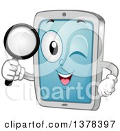 Happy Tablet Computer Mascot Searching With A Magnifying Glass