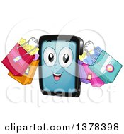 Clipart Of A Tablet Computer Mascot Carrying Shopping Bags Royalty Free Vector Illustration